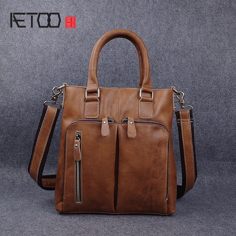 AETOO Leather briefcase men handmade first layer cowhide shoulder Messenger bag retro business handbag