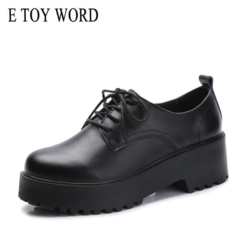 05ea1da1cae35 E TOY WORD platform shoes women Thick Heels Oxford Shoes For Women Split Leather  Women Casual Oxford Shoes Flats Women Shoes