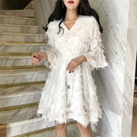 White Lace Beach Dress For Women Sexy V Neck Half Sleeve Spring Summer Dress Elegant Lady Casual Waist Evening Party Midi Dress