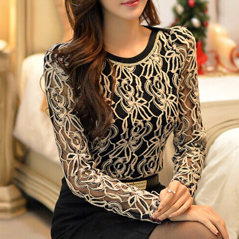 2017新しい到着の女性服韓国の女性エレガントなヴィンテージ女性のシャツプラスサイズ長袖ブラックレースシフォンブラウス651E05