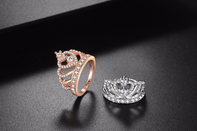 Jiayiqi 2018 Princess Style Cubic Zirconia Hollow Heart Silver/Rose Gold Color Crown Ring Jewelry Engagement Wedding Party 3