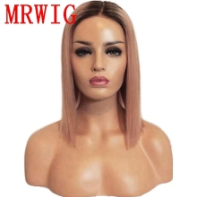 MRWIG 12in short bob straight ombre pink synthetic front lace wig 260g heat resistant fiber for lady woman