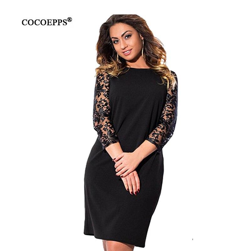 COCOEPPS Größe Frauen kleiden Blumendruck-Partei-Kleider - Damenbekleidung - Foto 1