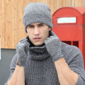 Plain Men Hat Scarf Gloves Sets Wool Knitted Beanies Winter Warm Muffler Scarves Snow Ski Caps Ring Scarf Telefingers Gloves