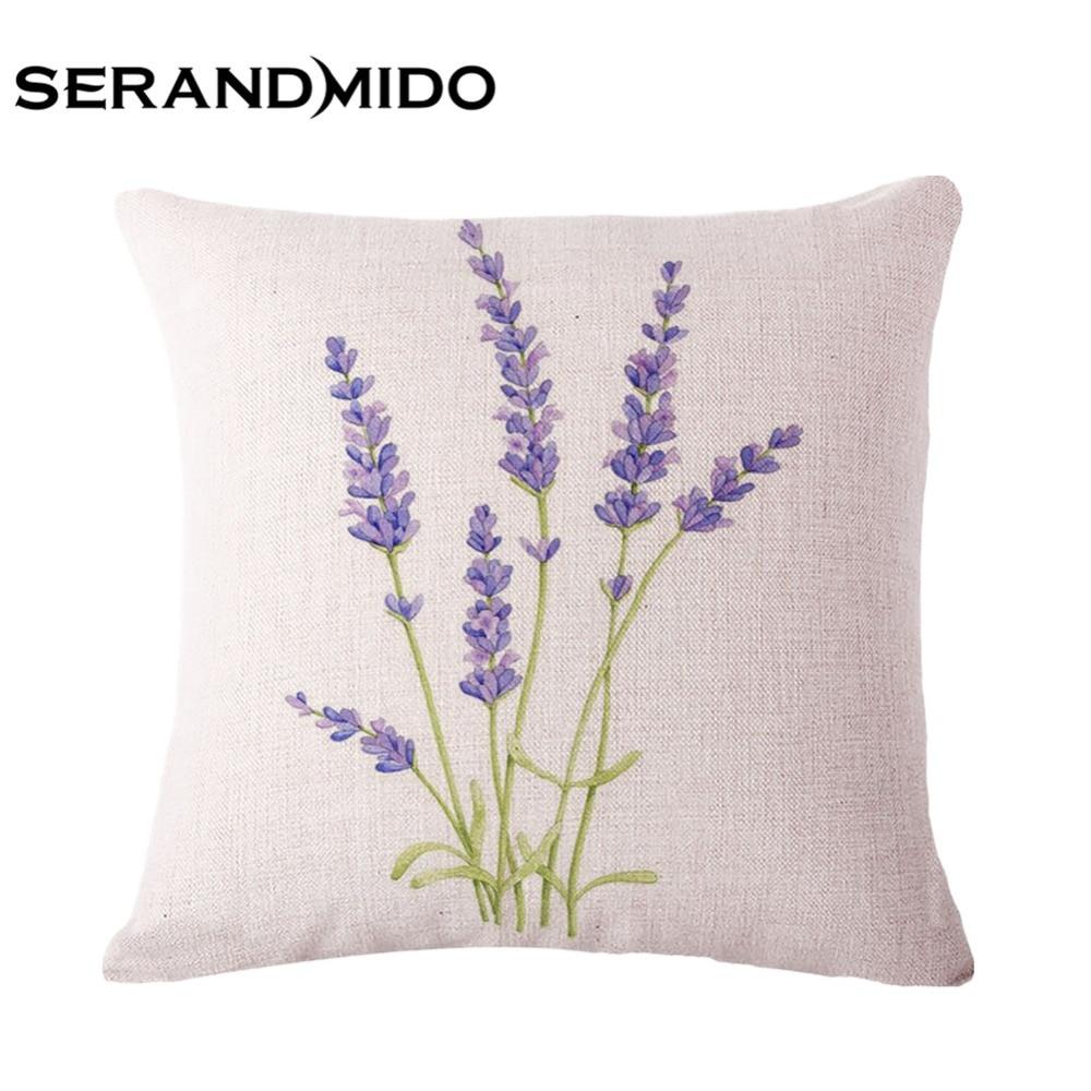 Purple lavender flowers waist cushion cases elegant linen - Funda cojin 50x50 ...