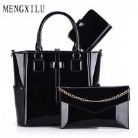 3 Set Wax Oiled Composite PU Leather Bag Handbags Women Messenger Bags Female Purse Solid Shoulder