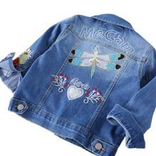 Baby Girls Denim Jackets Coats Fashion Long Sleeves Embroidery Denim Jacket Spring Fall Children Outwear Kids Denim Coat 3-10 Y недорого
