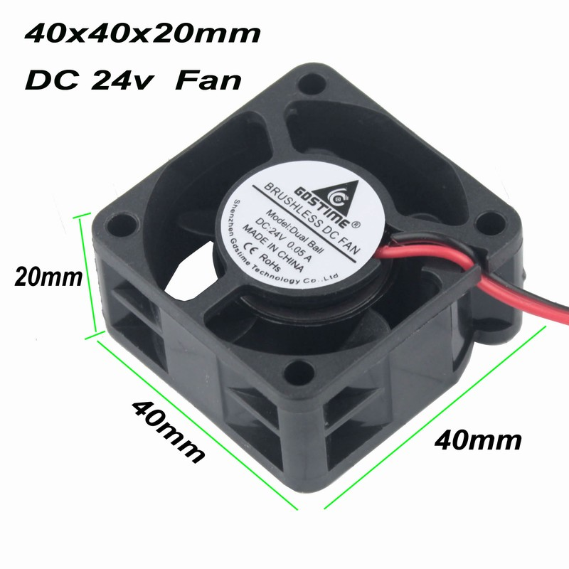 цены на 2 pcs Gdstime 24V Small Radiator Cooler 4cm Ball Bearing 40x40mm Heatsink Cooling Fan 40mm x 20mm Smart DC Brushless Fan в интернет-магазинах