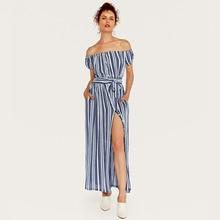 Wasteheart Summer Bohemian Women Dress Striped Printed Long Dresses Strapless Slash Neck Holiday Sexy Plus Size Sundress