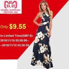 64049650f68dd 2018 летние Цветочный принт длинное платье плюс Размеры 5XL Для женщин  платье макси Холтер шеи без