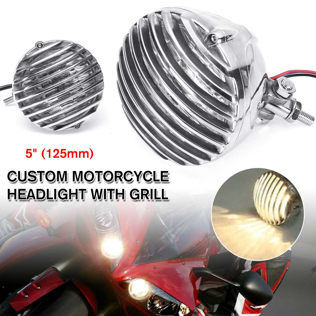 NEW Motorcycle LED Retro Headlight Head Light Grill Aluminum For Harley, Chopper, Bobber, Cafe Racer And Custom Motorcycles