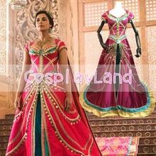 2019 Movie Aladdin Princess Jasmine Cosplay Costume Fancy Dress Halloween Coronation sequin long cloak