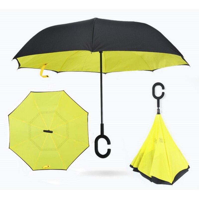Зонтик Ветрозащитный складной двойной Слои перевернутый Chuva Зонты самостоятельно стоять на изнанку дождь