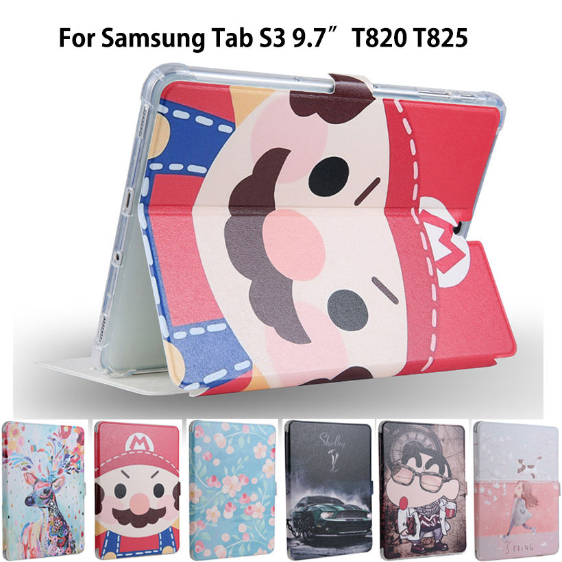 Fashion PU Leather Case For Samsung Galaxy Tab S3 9.7 T820 825 Smart Case Cover Slim Protective Stand Funda Tablet Sleep/Wake up