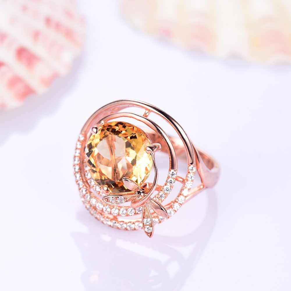 L & zuan ธรรมชาติ 3.21ct Citrine แหวนหินสีเหลือง Dragonfly เครื่องประดับ Rose Gold Plated S925 Party Silver แหวนของขวัญ