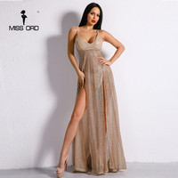 Missord 2017 Sexy Off Shoulder Party Backless Dresses Female Two Split Glitter Maxi Elegant Dress FT8211