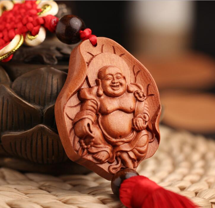 Chinese Peach Wood Carved Lotus Leaf Maitreya Buddha Always Smile Safe And Good Luck Card Exquisite Car Interior Trim Pendant