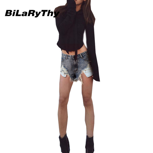 BiLaRyThy Fashion Vintage Women Short Jeans Slim Ripped Snow Washed Denim Shorts Summer Casual Shorts