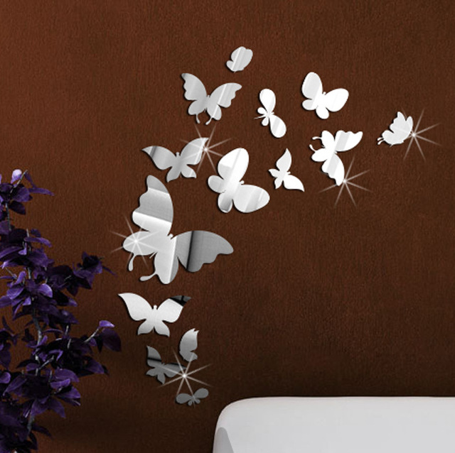 14pcsset Butterfly Wall Mirror Acrylic Mirrored Decorative Butterflies Wall  Stickers Home Decoration Wall Art.