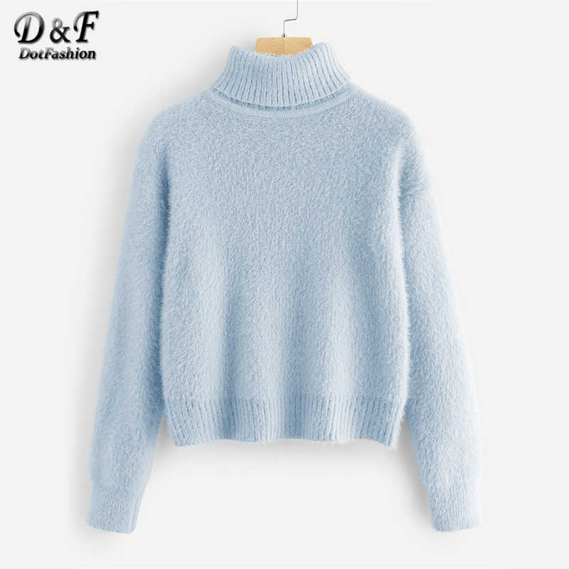 Dotfashion Blue Rolled Up Neck Solid Fuzzy Jumper Womens Sweaters 2019 Winter Clothes Women Casual Fall Clothing Plain Pullovers