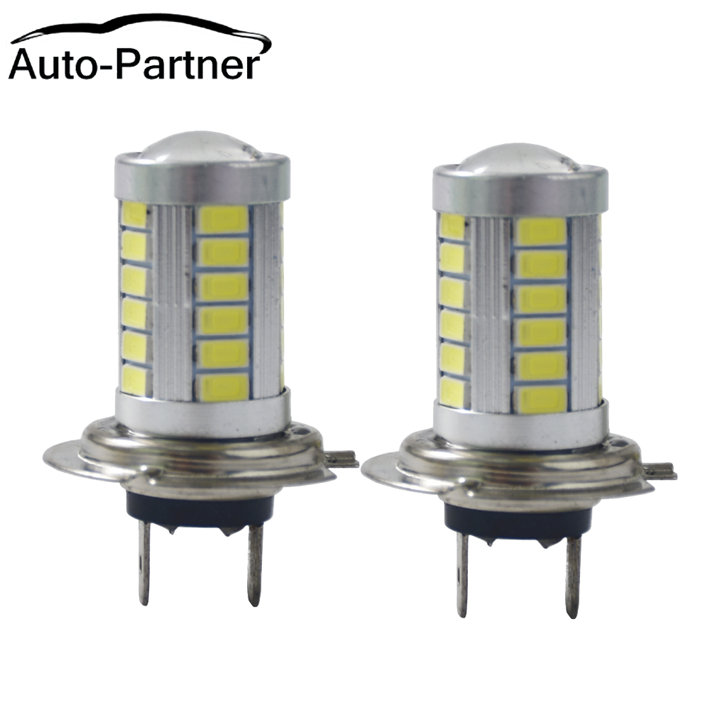 Auto-Partner 1pair Car H7 Led Headlight Bulbs 6000K 500LM SMD5630 White LED Fog Light Bulb Day Running Light Driving Light