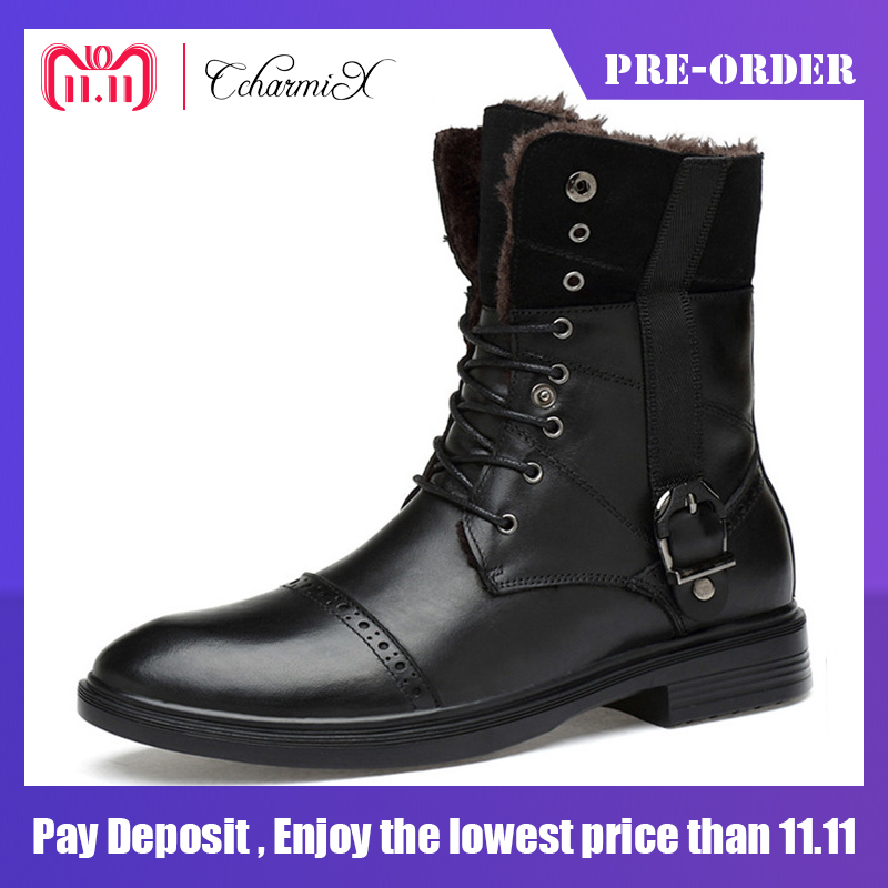 CcharmiX Large Size 14 Genuine Leather Men Moto Boots Men Mid Calf Military Desert Shoes Men Warm Winter Boots Male Black Botas 2018 winter men riding boots mid calf military botas blue black genuine leather knight martin shoes male fashion safety footwear