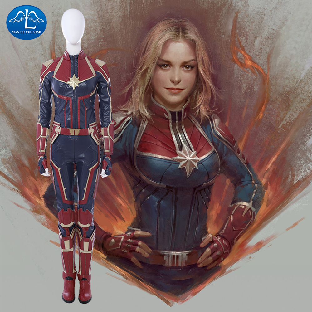 2019 Carol Danvers Captain Marvel Costume Halloween Costume Captain Marvel Jumpsuit Cosplay Captain Marvel Suit Custom Made