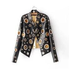 Mode 2018 pu femmes veste à capuche veste automne métal moteur punk argent  L europe États tendance dong trou trou pu en cuir ves. bb0f50938d0