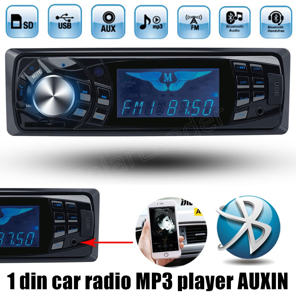 support 64G SD card Bluetooth 12V Car Stereo FM Radio MP3 Audio Player USB/SD In Dash 1 DIN remote control Auxin new arrival