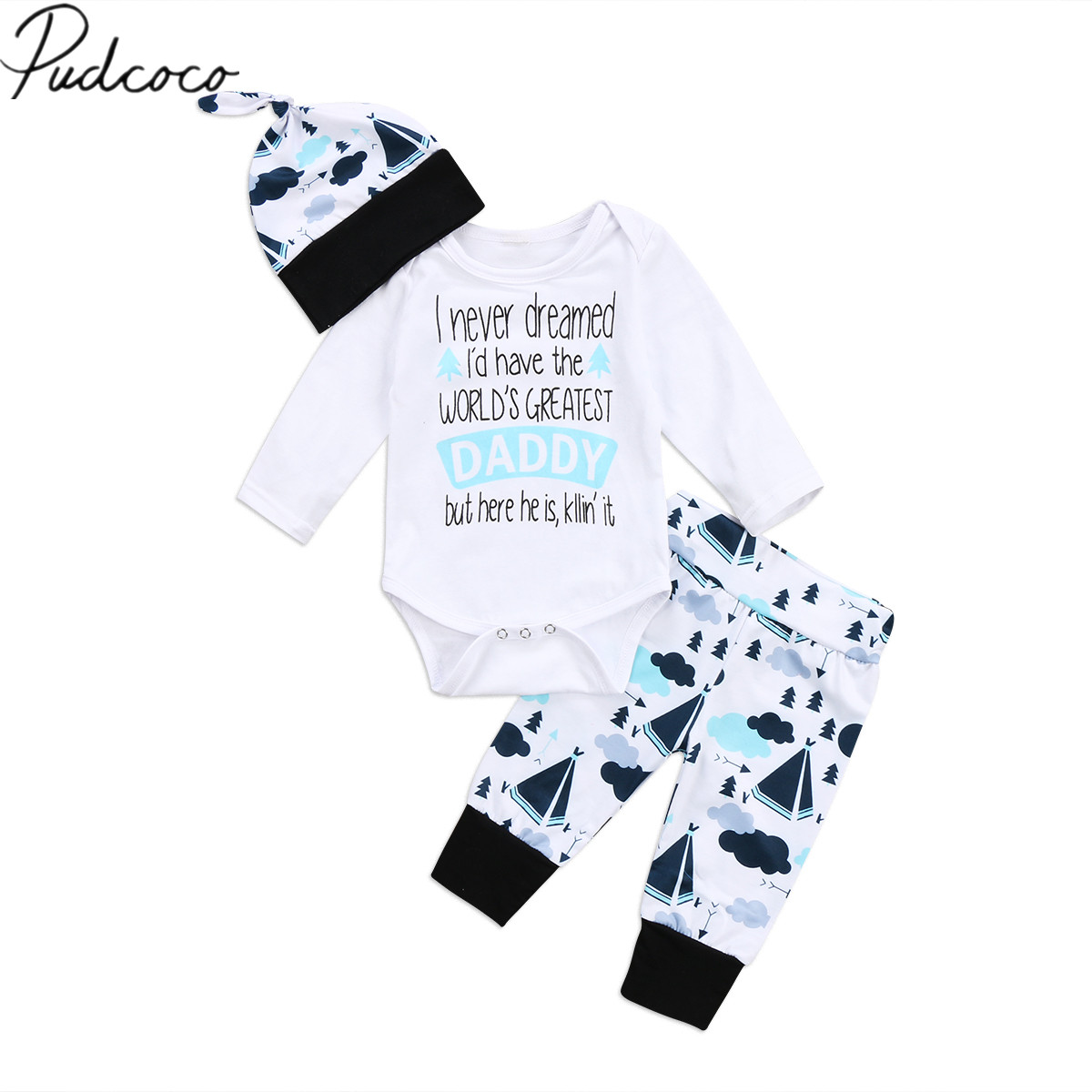 2017 Brand New Adorable Infant Baby Boy Girl Greatest Daddy Romper Pant Leggings Hat 3Pcs Clothes Autumn Casual Outfit Set 0-24M 2pcs set baby clothes set boy