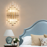 Led Vanity Lights Fixtures Hotel Bedside Crystal Wall Lamps Living Room Aisle Staircase Wall Lights Modern led Gold Wall Sconce