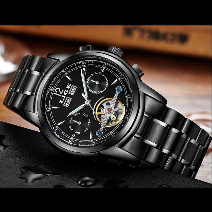ФОТО 2017 LIGE luxury brand Automatic Mechanical Sport Watch reloj hombre Casual Watches Army Bracelet Clock men relogio masculino