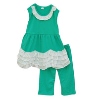 Factory Selling 2016 Summer Dress Plus Green Capris Ruffle Collar White Multi-layers Cake Hem Toddler Girl Clothing Set S056