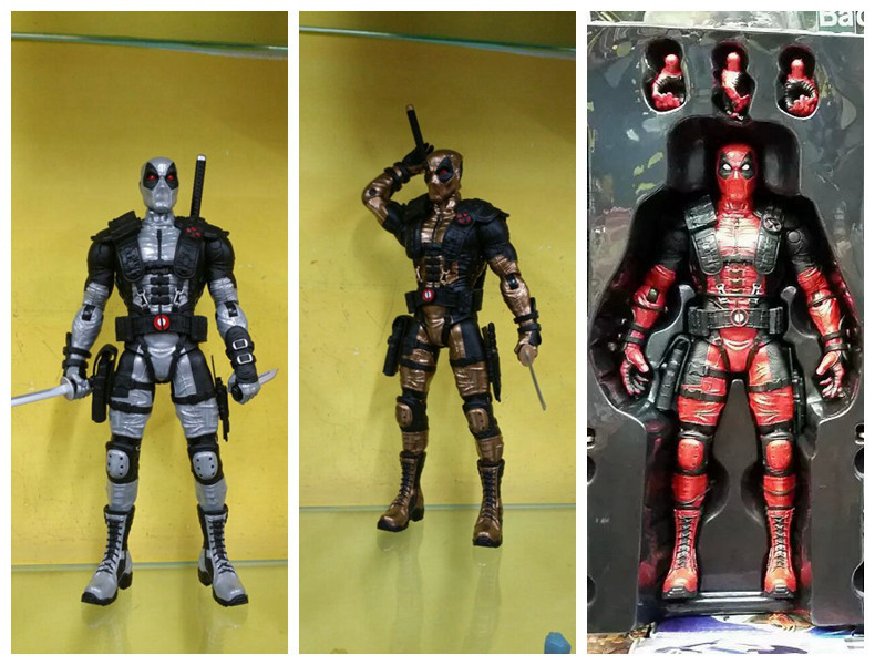 Marvel X-Men Deadpool Loose Red Golden Silver PVC Action Figure Collectible Model Toys 10 25cm with retail box KT1901
