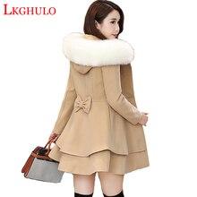Зимнее шерстяное Женское пальто новая мода большой меховой воротник шерстяное пальто Женская ветровка размера плюс 3XL женское базовое пальто W520