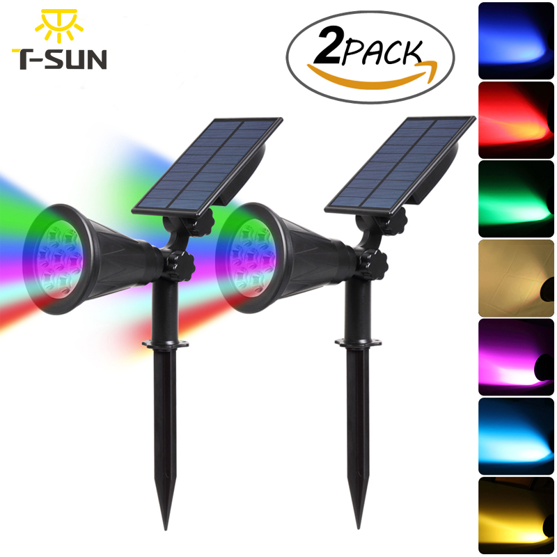 T-SUNRISE 2PACK 7 LED Solar Spotlight Auto Color-Changing Waterproof Outdoor Solar Lamp RGB Garden Solar Light Led Waterproof