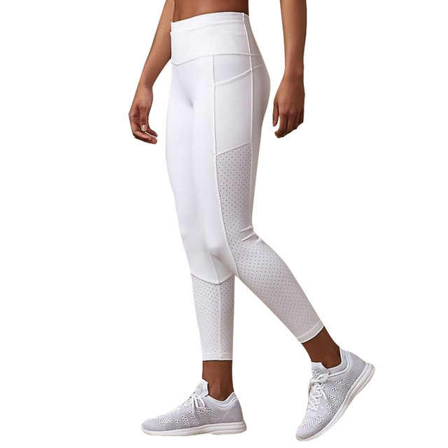 Breathable Mesh Running Jogger Tights Women Stretchy Sport Fitness Pants Reflective Yoga Gym Leggings with Pocket 2