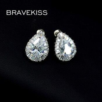 BRAVEKISS grandes pendientes de gota de Agua de Cristal para mujer pendientes de circón blanco espárragos oído piercing regalo bijoux femme BUE0029