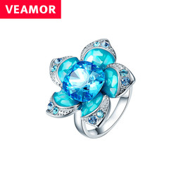 Veamor flower ring for women luxury blue crystals from australia big ring female with enamel fashion.jpg 250x250