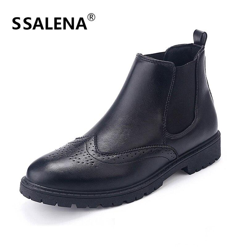 2018 Römischen Leder Männer Stiefeletten Atmungsaktive Chelsea Stiefel Männlichen Komfortable Hohe Brogue Schuhe Outdoor Casual Schuhe B2666 Duftendes Aroma