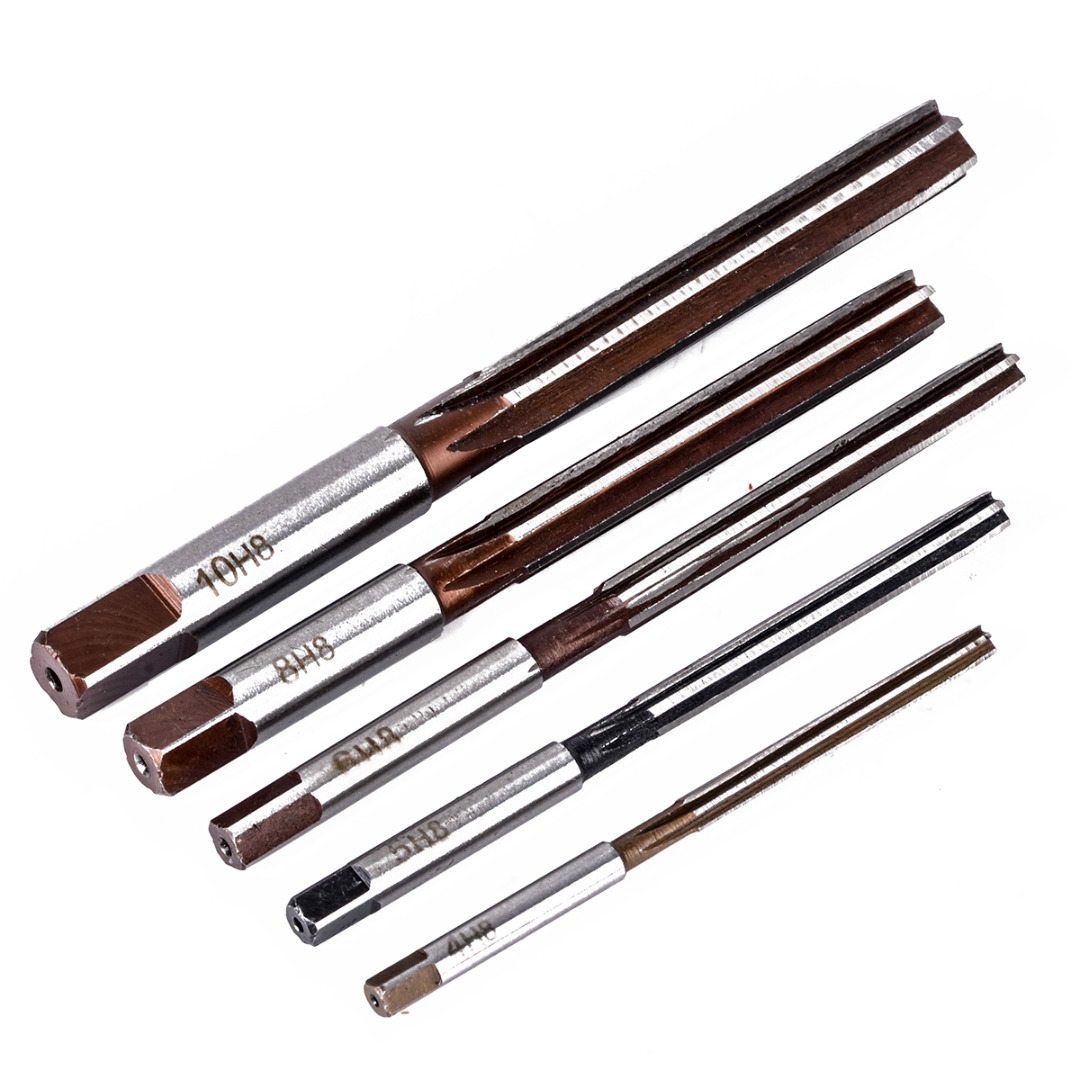 5pcs H8 Chucking Straight Shank Hand Reamers Set 6 Flutes 4mm/5mm/6mm/8mm/10mm For Metal Tools Cutting Mayitr