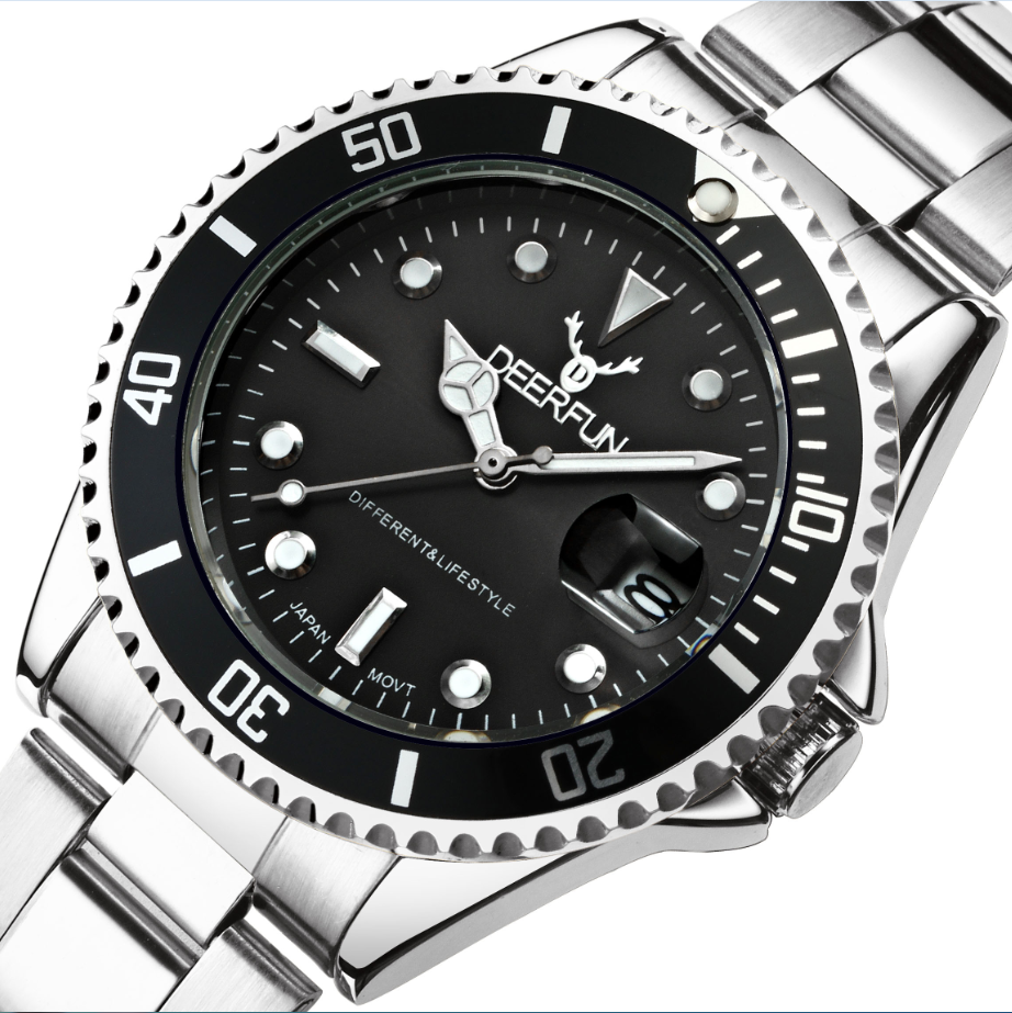 DEERFUN ゴールド腕時計メンズ Gmt 回転ベゼルサファイアガラスステンレス鋼バンドスポーツクォーツ腕時計リロイのレロジオ 40 ミリメートル