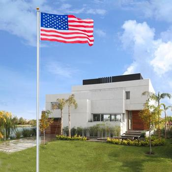 25ft Solemn Outdoor Decoration Sectional Halyard Pole US America Flag Flagpole Kit