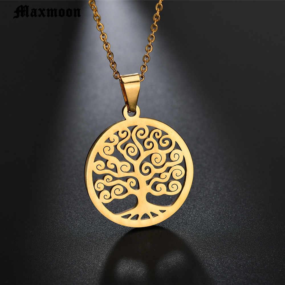 Maxmoon แฟชั่น silver Gold Tree Of Life สร้อยคอจี้ totem ศาสนา collares populares งานแต่งงานวันวาเลนไทน์เครื่องประดับ