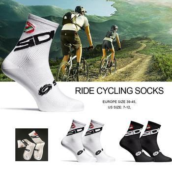 Nowe skarpety rowerowe męskie sportowe Outdoor czarne białe oddychające rowery szosowe tanie i dobre opinie Podkolanówki Jazda na rowerze