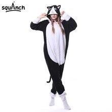 f2333fc2e153b Животных Черный Кот Kigurumi Onesie Для мужчин Для женщин DJ Kitty  Соответствующие Pajama общая взрослых пижамы мультфильм карна.