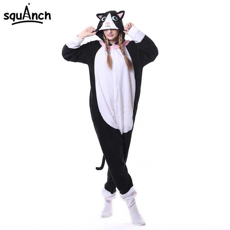 Detail Feedback Questions about Animal Black Cat Kigurumi Onesie Men Women  DJ Kitty Matching Pajama Overall Adult Sleepwear Cartoon Carnival Jumpsuit  ... 7e8e31d82