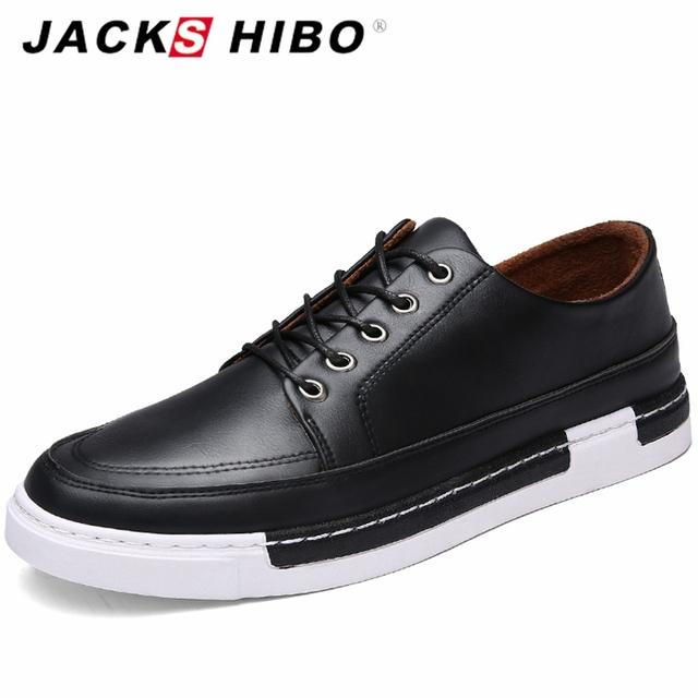 JACKSHIBO 2016 Otoño Mens Lace Up Casual Shoes Sales Moda Zapatillas Hombre Zapatos Planos Negros de Suela Gruesa Zapatos de Hombre de Moda