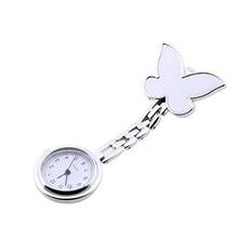 Amecor Мода бабочка медсестры клип-на Подвеска для броши Висячие кварцевые карманные часы montre femme