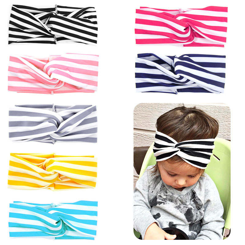 Cute Striped Knot Headband Baby Girls Headwraps Turban Headbands Infant Cross Front Hairband BM